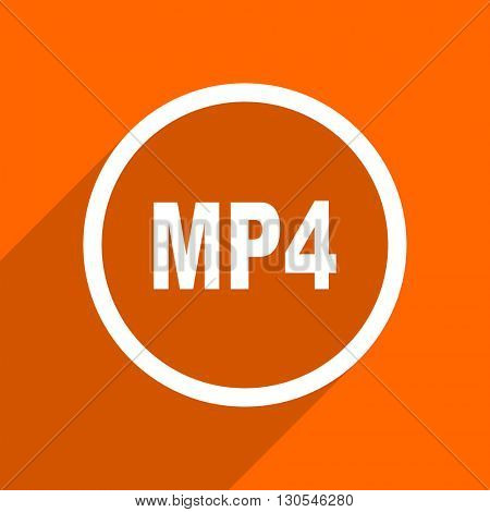 mp4 icon. Orange flat button. Web and mobile app design illustration