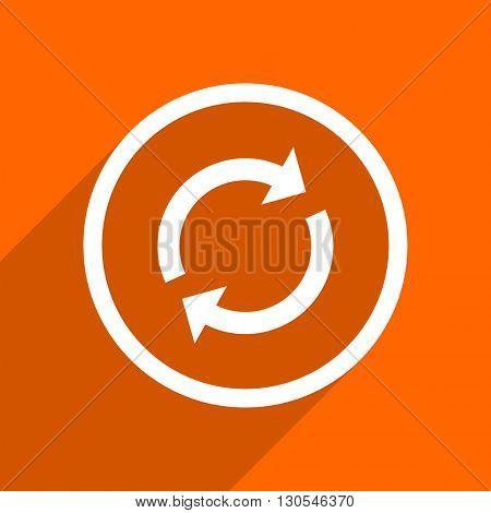 reload icon. Orange flat button. Web and mobile app design illustration