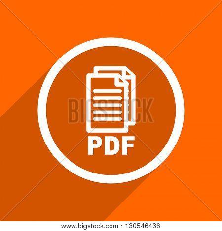 pdf icon. Orange flat button. Web and mobile app design illustration,