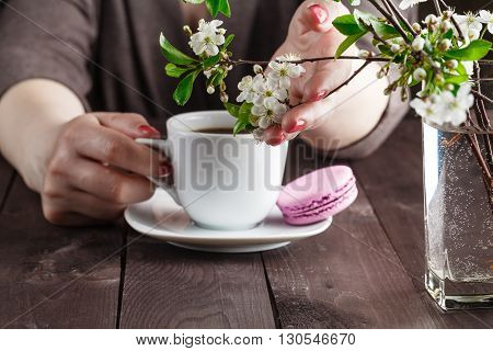 Concept With Morning Coffee In A Romantic Style On The Wooden Background. Cherry Blossoms, Coffee An