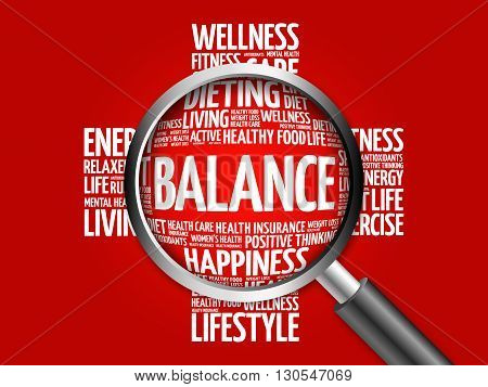 Balance Word Cloud With Magnifying Glass