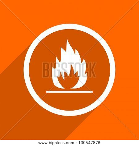 flame icon. Orange flat button. Web and mobile app design illustration
