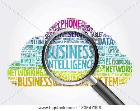 Business Intelligence word cloud with magnifying glass business concept