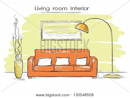 Sketchy Illustration Of Living Room Color Interior.vector Hand Drawing Coach And Lamp