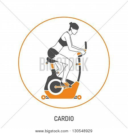 Fitness, Cardio, Healthy Lifestyle Concept for Mobile Applications, Web Site, Advertising with Exercise Bike and Woman Icons.