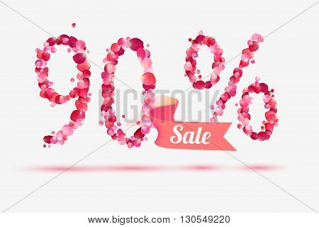 ninety (90) percents sale. Vector digits of pink rose petals