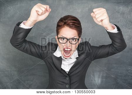 Angry Screaming Teacher In Glasses