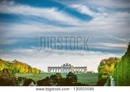 VIENNA, AUSTRIA - CIRCA APRIL 2016: Gloriette building in Schonbrunn gardens in Vienna. Schonbrunn Palace is one of the most important architectural and historical monuments in Austria