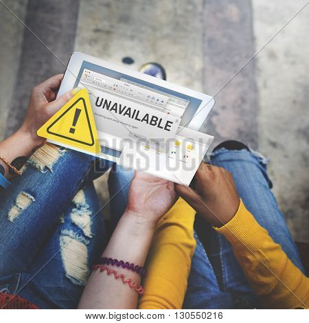 Unavailable Unable Connect Notification Concept