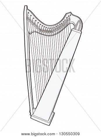 Gothic lever celtic harp isolated on white background. Vector illustration