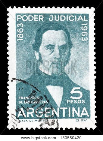 ARGENTINA - CIRCA 1963 : Cancelled postage stamp printed by Argentina, that shows Francisco de las Carreras.
