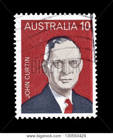 AUSTRALIA - CIRCA 1975 : Cancelled postage stamp printed by Australia, that shows John Curtin.