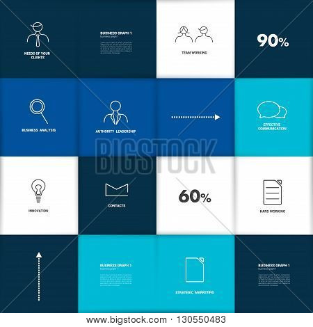 Table, schedule blue design template. Vector banner.
