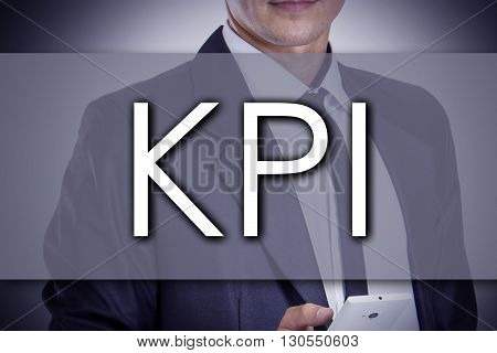 Kpi - Young Businessman With Text - Business Concept