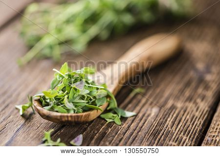 Old Wooden Table With Fresh Thyme