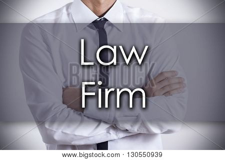 Law Firm - Young Businessman With Text - Business Concept
