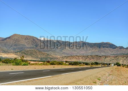 OULAD MKOUDOU MOROCCO - NOVEMBER 03 2015: View of the Middle Atlas Mountains near town of Oulad Mkoudou