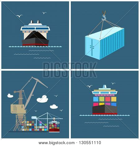 Cargo Icons, Container Ship ,Dry Cargo Ship, Unloading Containers from a Cargo Ship in a Docks with Cargo Crane ,Container, International Freight Transportation ,Vector