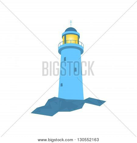 Lighthouse, Beacon Isolated on White, Lighthouse Stands on Rocks,  Vector Illustration