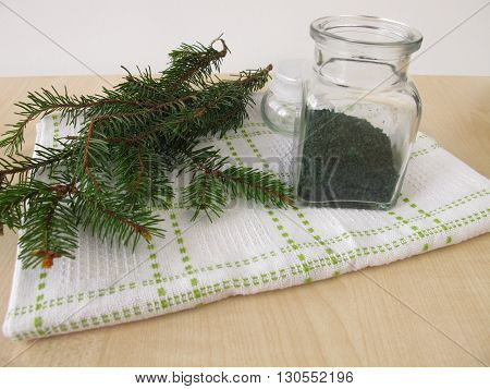 Spruce needles bath salt in small bottle