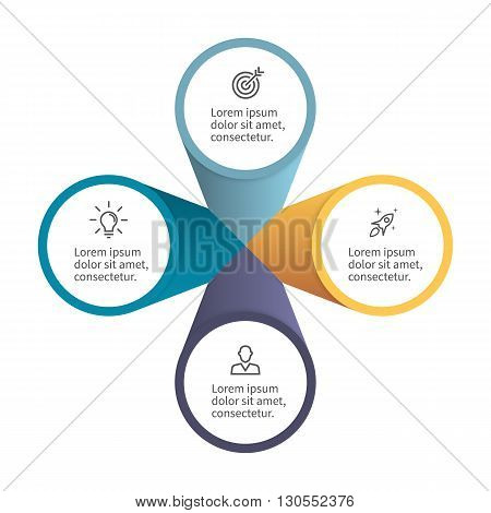 Infographic element with petals. Flat chart, diagram, graph with 4 steps, options. Vector design element.