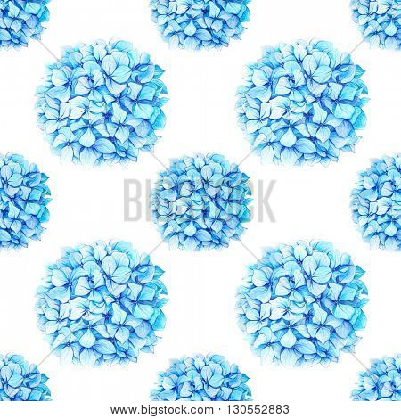 Watercolor illustration of hand painted blue hydrangea pattern