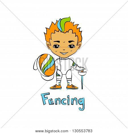 Vector cartoon boy fencer with a mask