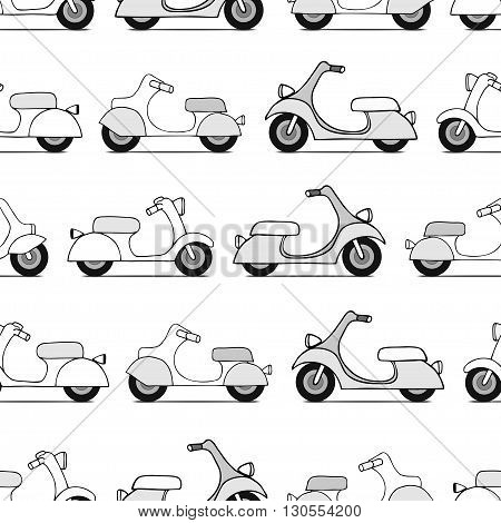 Seamless texture with black scooters. Vector illustration