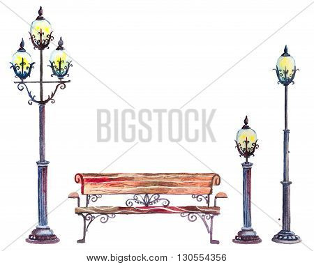 Hand drawn watercolor autumn background with park, outdoor elements: set of street lanterns and bench, isolated on the white background