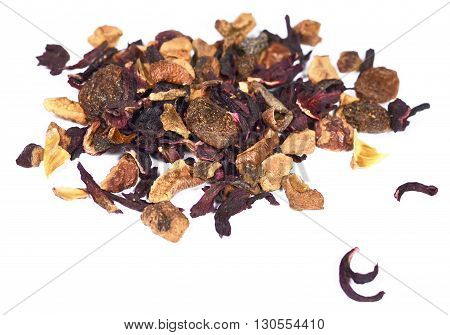 Fruit tea, isolated on white background. Loose tea with raisins, petals and spices.