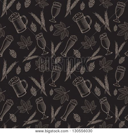 Beer objects hand drawn seamless pattern. Vector illustration.