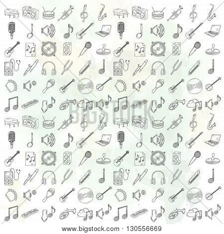 Hand drawn musical instruments icons set. Vector illustration.