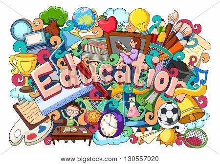 vector illustration of doodle on education concept