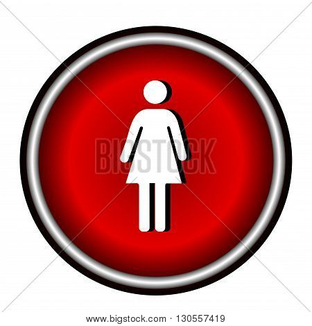 Red circle Woman Icon Vector on white background