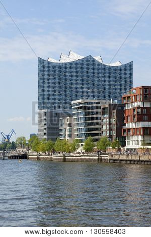Hamburg, Germany - May 19, 2016: The Elbphilharmonie concert hall in the HafenCity quarter. It sits on top of an old warehouse, with 110 m it is the tallest inhabited building of Hamburg.