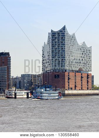 Hamburg, Germany - May 19, 2016: The Elbphilharmonie, a concert hall in the HafenCity quarter. The new construction is designed by Swiss architecture firm Herzog & de Meuron.