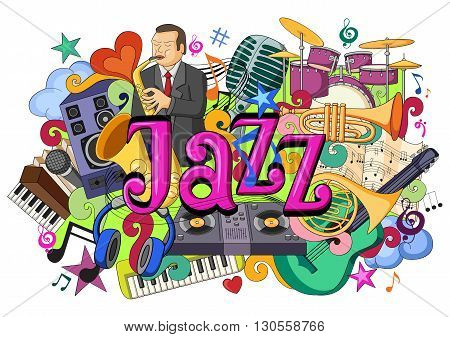 vector illustration of doodle on Jazz Music concept