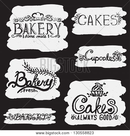 Collection Of Handwritten Vintage Retro Bakery Logo Labels. Vector