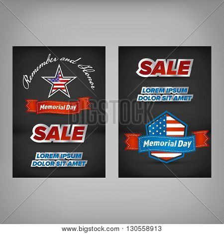 Design of the flyer of Memorial Day sale. American Memorial Day sale celebration poster, vector illustration