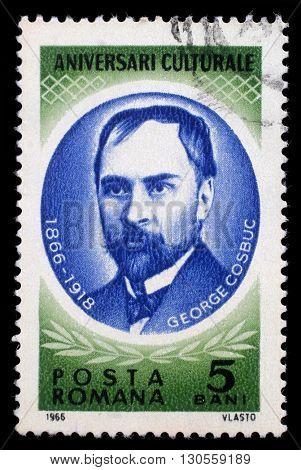 ZAGREB, CROATIA - JULY 19: a stamp printed in Romania shows George Cosbuc (1866 - 1918) Romanian poet, translator, teacher, and journalist, circa 1966, on July 19, 2012, Zagreb, Croatia