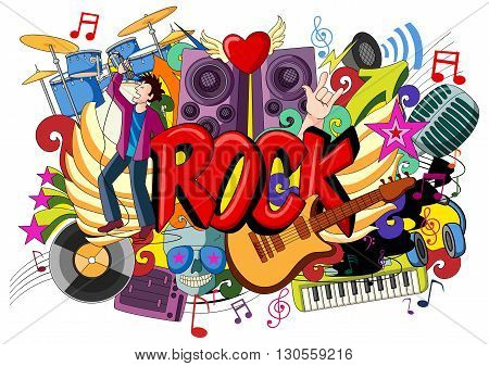 vector illustration of doodle on Rock Music concept