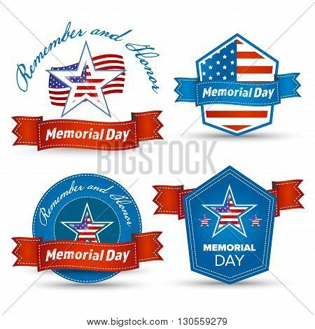 Memorial Day vector greeting card badge and labels. USA Memorial day holiday celebration