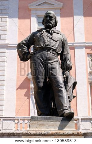 PISA, ITALY - JUNE 06, 2015: Giuseppe Garibaldi bronze statue by Ettore Ferrari in Pisa, Italy, on June 06, 2015