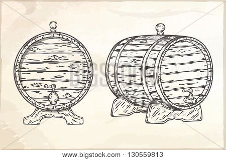 Wood Barrel hand drawn vector EPS10 illustration.