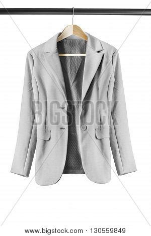 Gray elegant jacket on clothes rack isolated over white