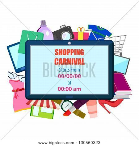 vector illustration of Shopping Carnival Sale Poster poster with different element