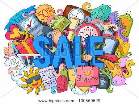 vector illustration of doodle of shopping sale poster with different element