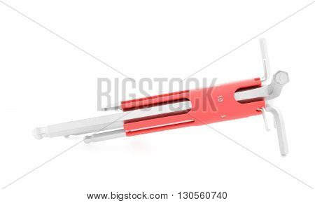 Allen wrench, chrome tool for construction, isolated, on white background