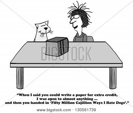 Education cartoon about writing a paper to get extra credit.