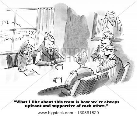Business cartoon about team members who like to have fun with each other.